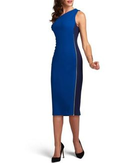One-shoulder Tonal Sheath Dress