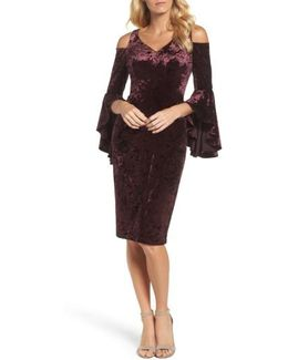 Cold Shoulder Velvet Dress