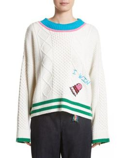 Monster Embroidered Cable Knit Sweater