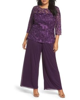 Embroidered Top & Chiffon Pants