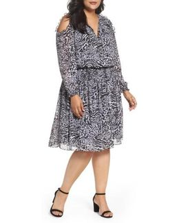Big Cat Print Cold Shoulder Dress