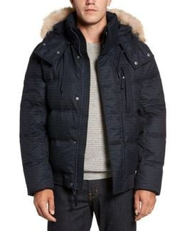 Print Quilted Jacket With Genuine Coyote Fur Trim