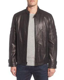 Tuers Lambskin Leather Moto Jacket