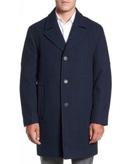 Herringbone Wool Blend Car Coat