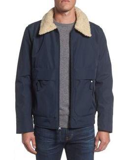 Porter Faux Shearling Collar Aviator Jacket