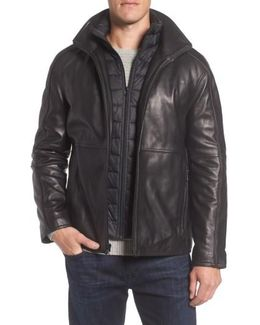 Leather Jacket With Quilted Insert