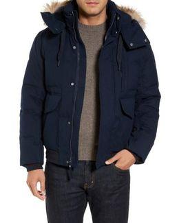 Down Herringbone Jacket With Genuine Coyote Fur Trim