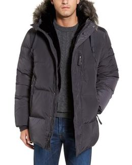 Quilted Down Parka With Faux Fur Trim