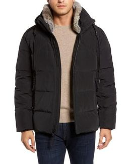 Navan Quilted Down Jacket With Genuine Rabbit Fur Trim