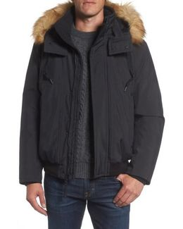 Insulated Bomber Jacket With Faux Fur Trim