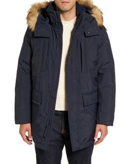 Down Jacket With Faux Fur Trim
