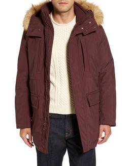 Down Jacket With Faux Fur Trim