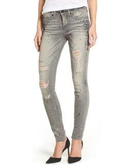 Halle Paint Splatter Skinny Jeans