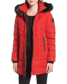 Down Parka With Detachable Hood & Faux Fur Trim