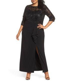 Sequin Mesh & Jersey Column Gown