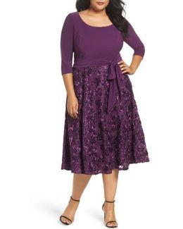 Tea Length Jersey & Rosette Lace Dress