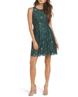Metallic Lace Fit & Flare Dress