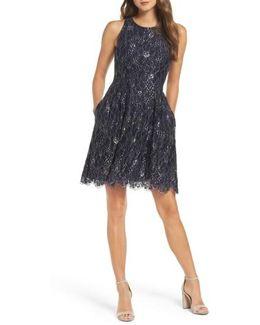 Metallic Lace Fit & Flare Dress