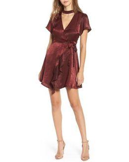 Satin Choker Wrap Dress