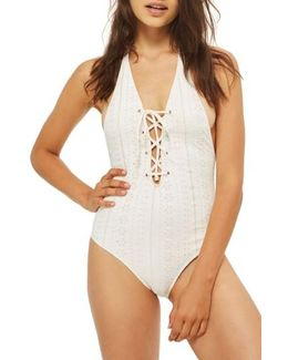 Lace-up Broderie One-piece Swimsuit
