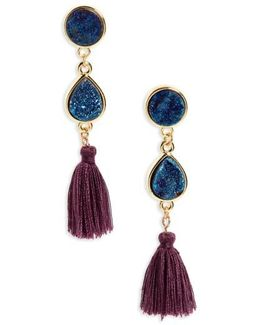 Drusy Quartz Tassel Earrings
