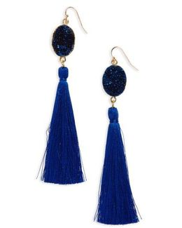 Drusy Tassel Earrings