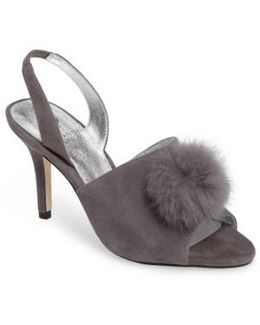 Alecia Genuine Rabbit Fur Pompom Sandal