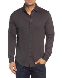Trim Fit Heathered Knit Sport Shirt