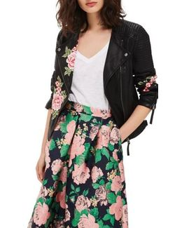 Luna Floral Patch Faux Leather Biker Jacket