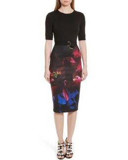 Alaxane Impressionist Body-con Dress