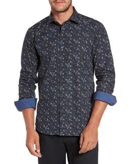 Trim Fit Leaf Print Sport Shirt