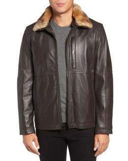 Lambskin Leather Jacket With Genuine Rabbit Fur Trim