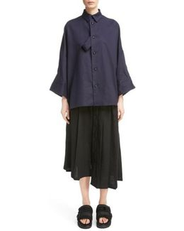 Fly Front Oversize Blouse