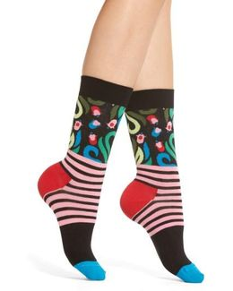Flower Stripe Crew Socks