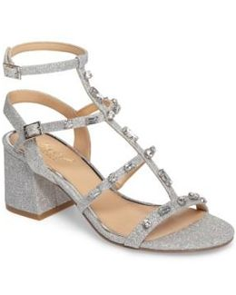 Ana Crystal Studded Block Heel Sandal