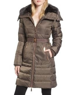 Belted Coat With Detachable Faux Fur
