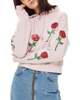 Sequin Rose Applique Hoodie