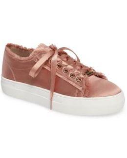 Caramel Frayed Platform Sneaker