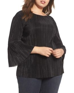 Pleated Knit Bell Sleeve Top