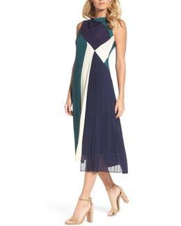 Block Pleated Midi Dress