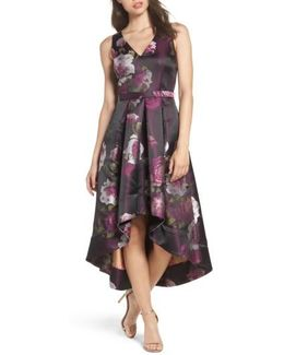 Belted Print High/low Party Dress
