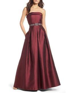 Embellished Belt Strapless Gown