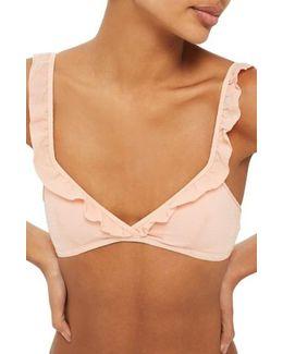 Textured Ruffle Crop Bikini Top