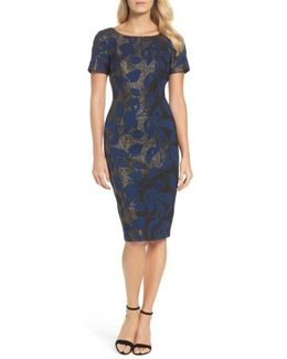 Metallic Jacquard Sheath Dress