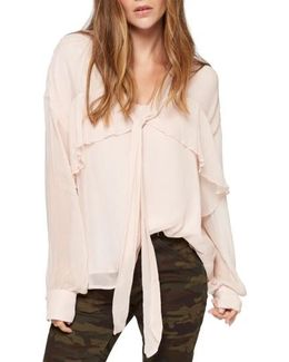 Lily Ruffle Tie Neck Blouse