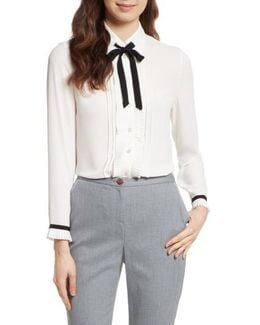 Pleated Frill Tie Neck Shirt