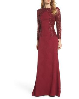 Sequin Embellished Crepe Gown
