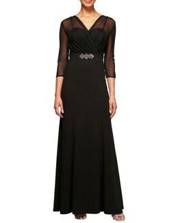 Embellished Illusion Yoke Gown