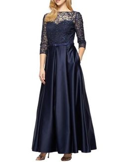 Embellished Lace & Satin Ballgown