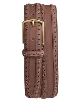 Brogue Nubuck Leather Belt